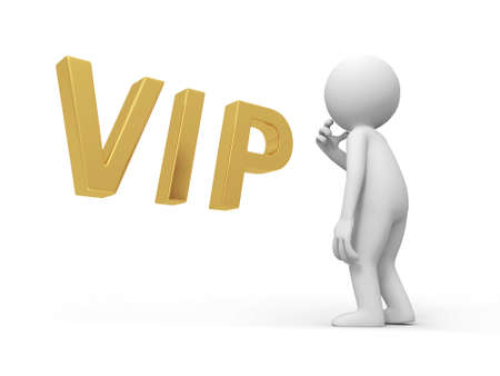 A 3d person thinking in front of a VIP symbol Stock Photo - 18616588