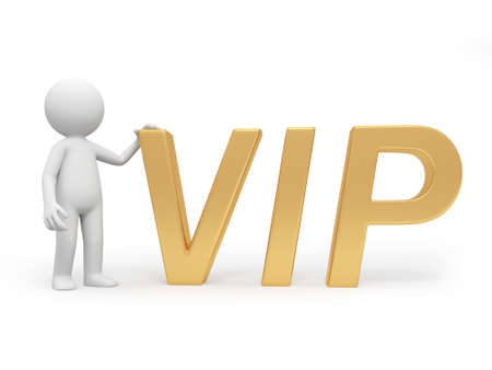 A 3d person standing at a VIP symbol Stock Photo - 18624445