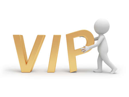 A 3d person holding a VIP symbol Stock Photo - 18623715