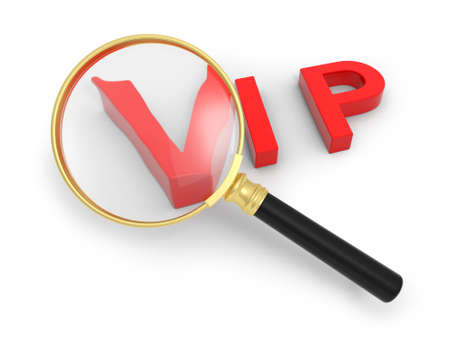 A 3d VIP symbol, a magnifying glass photo