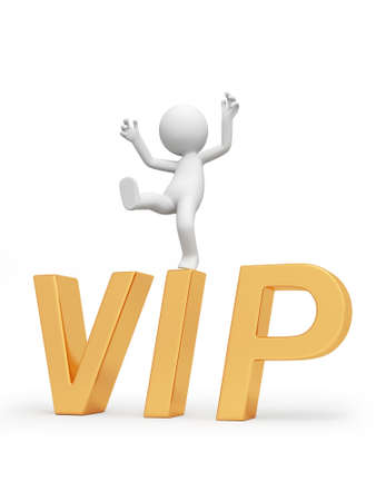A 3d person standing on a VIP symbol Stock Photo - 18623731