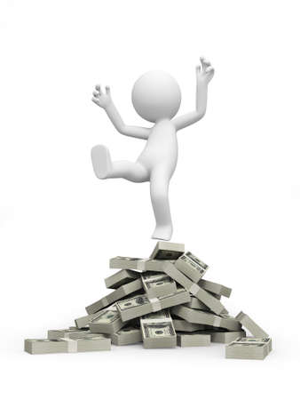A 3d person standing on piles of dollars photo