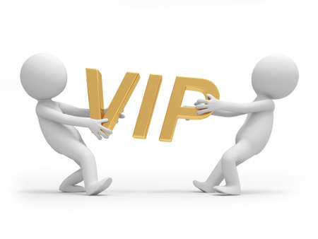 Two 3d people holding a VIP symbol photo