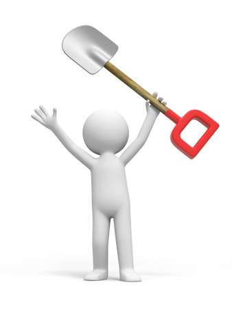 gold shovel: A 3d person is holding a shovel Stock Photo