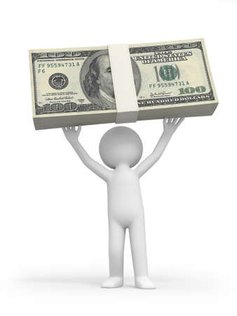 A 3d person holding a bundle of money photo