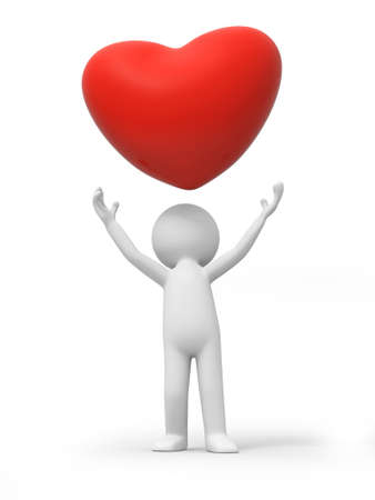 hot day: A 3d person looking up at a red heart symbol Stock Photo