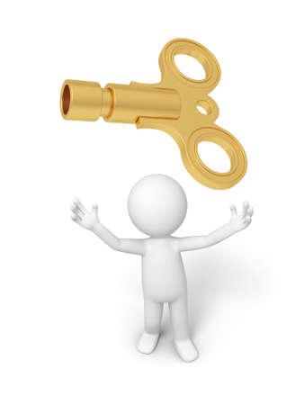 golden symbols: A 3d person looking up at a key