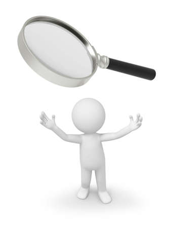 a 3d person looking up at a magnifying glass Stock Photo - 18622962