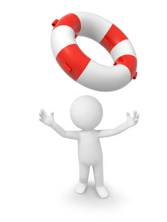 life preserver: a 3d person looking up at a buoy