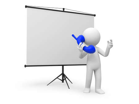 man presenting: A 3d man standing by a projector; telephone