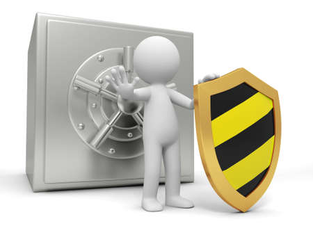 strongbox: A 3d man with a shield stopping the people, back to the safe Stock Photo