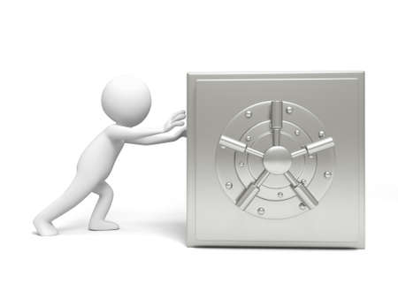 A 3d man pushing the safe with his hands photo