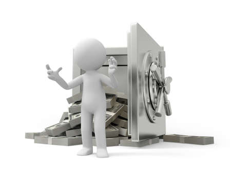 introducing: A 3d man introducing , back to a full dollar safe