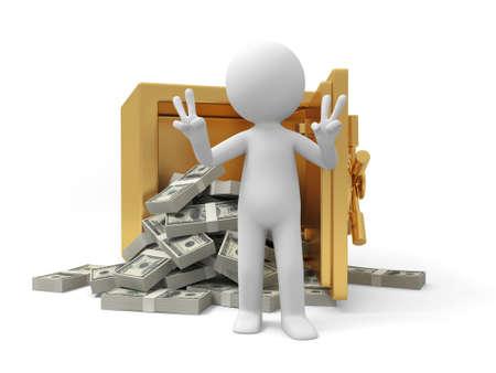 safe money: A 3d man standing back to a full dollar safe