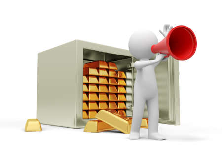 pension: A 3d man talking with a speaker, back to a opened safe, full gold bars Stock Photo