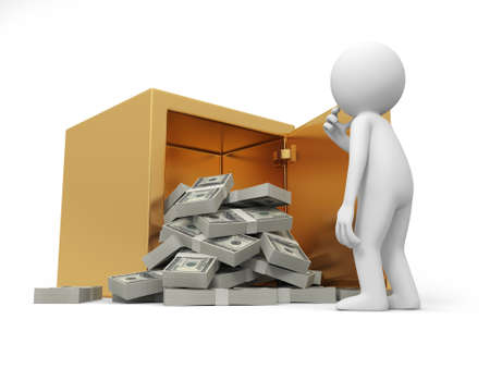 gold bar earn: A 3d man thinking , face to the opened safe, full dollars Stock Photo