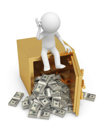 pension: A 3d man seated on a safe thinking , full dollars safe Stock Photo