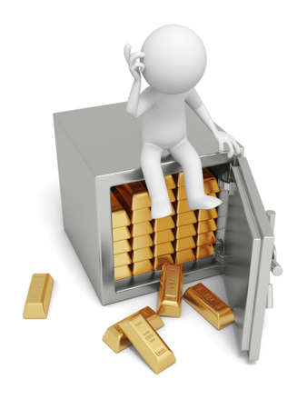 A 3d man seated on a safe thinking , full gold bars safe photo