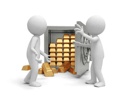 gold bar earn: Two 3d people discussing near a full gold bars safe Stock Photo