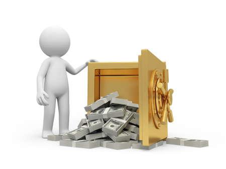 gold bar earn: A 3d man standing at a full dollars safe