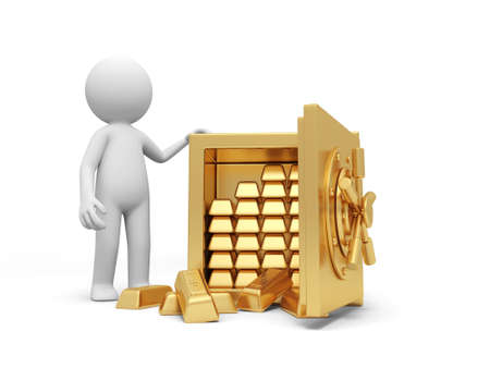 A 3d man standing at a full gold bars safe Stock Photo - 18874403