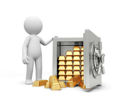A 3d man standing at a full gold bars safe Stock Photo - 18874385