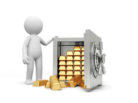 gold bar earn: A 3d man standing at a full gold bars safe