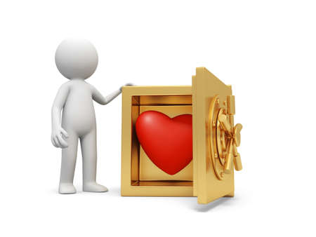 A 3d man standing at a safe, a red heart in the safe Stock Photo - 18874368