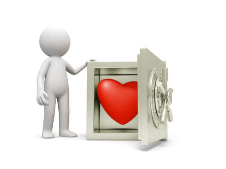 gold bar earn: A 3d man standing at a safe, a red heart in the safe