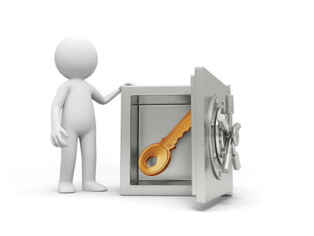 A 3d man standing at a safe, a key in the safe