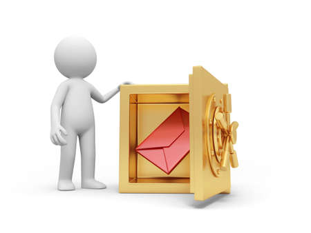 gold bar earn: A 3d man standing at a safe, a letter in the safe