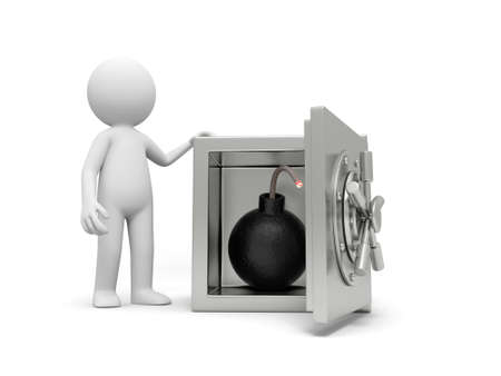 A 3d man standing at a safe, a bomb in the safe Stock Photo - 18874377