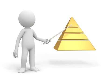 A 3d man pointing to a pyramid model photo