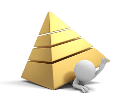 A 3d man pressed by a pyramid model photo