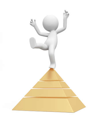 A 3d man standing on the top of a pyramid model photo