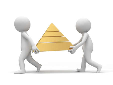 Two 3d men carrying a pyramid model Stock Photo - 18874157