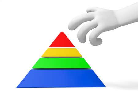A 3d hand, a 3d pyramid model photo