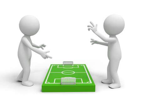 focus on the goal: Two 3d men discussing at a football field model