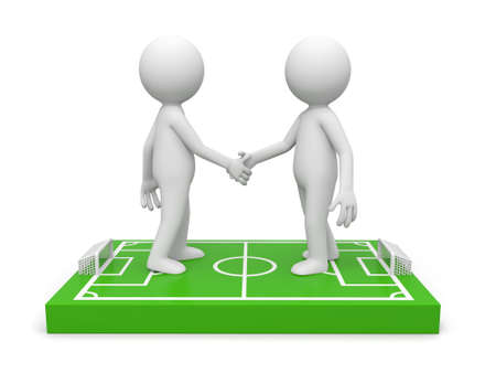 Two 3d men shaking hands on a football field model photo