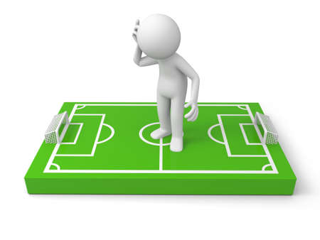 focus on the goal: A 3d man thinking on a football field model Stock Photo