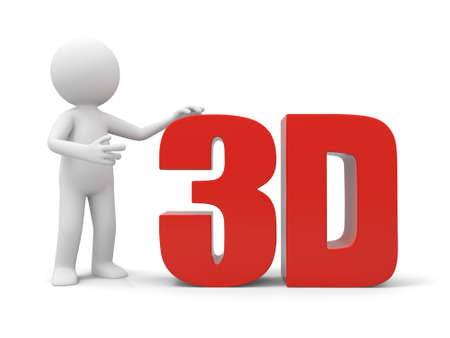 stereoscope: A 3d man introducing the 3d word Stock Photo