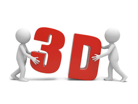 stereoscope: Two 3d men carrying the 3d word