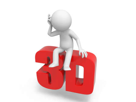 stereoscope: A 3d man thinking on a 3d word
