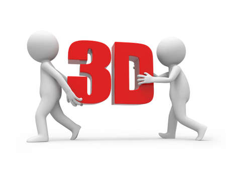 stereoscope: Two 3d men carrying a 3d word
