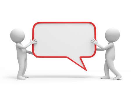 personas comunicandose: Dos personas 3d que llevan un gran di�logo