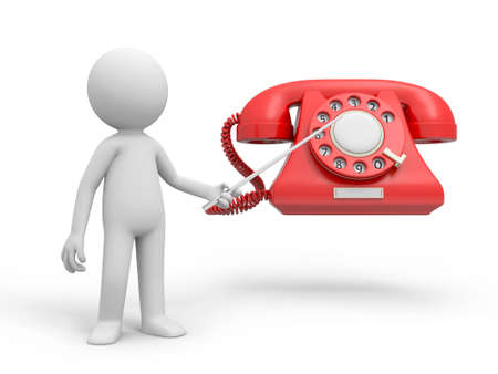 rotary: A 3d person pointing to a phone call Stock Photo