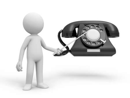 A 3d person pointing to a phone call Stock Photo - 18910073