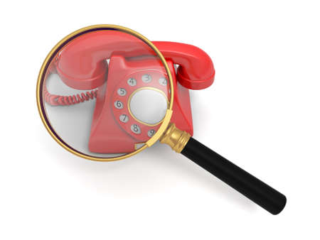 A magnifying glass magnifying a red phone call photo