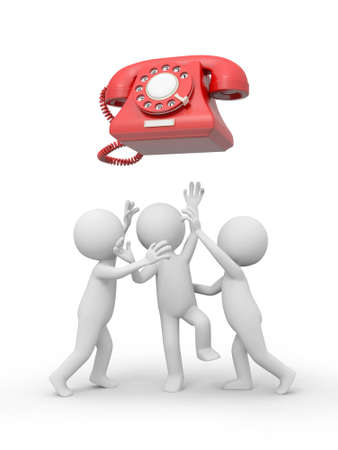 Three 3d people snatching a red phone call Stock Photo - 18909955