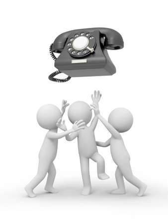 Three 3d people snatching a red phone call photo